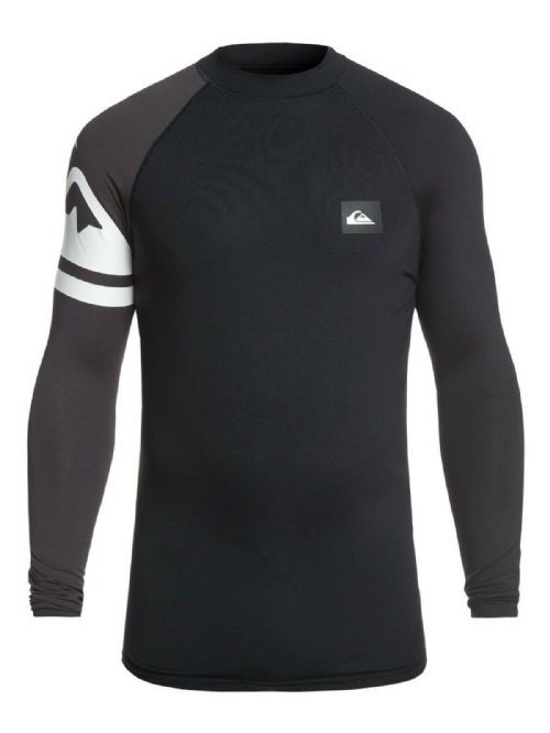 QUIKSILVER MENS RASH VEST.NEW ACTIVE UPF50+ LONG SLEEVE BLACK TOP T SHIRT 9S 55K